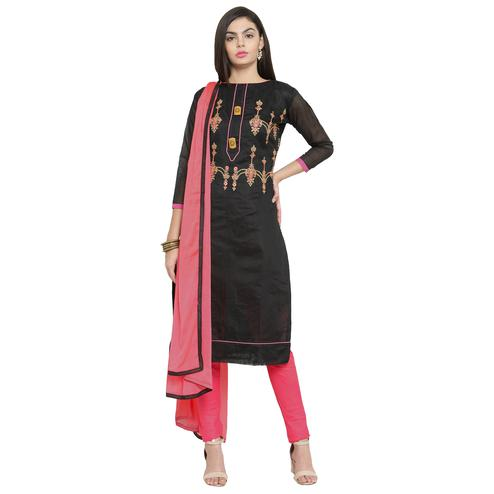 Beautiful Black Colored Casual Embroidered Chanderi Silk Dress Material