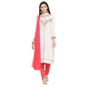 Pleasant White Colored Casual Embroidered Chanderi Silk Dress Material