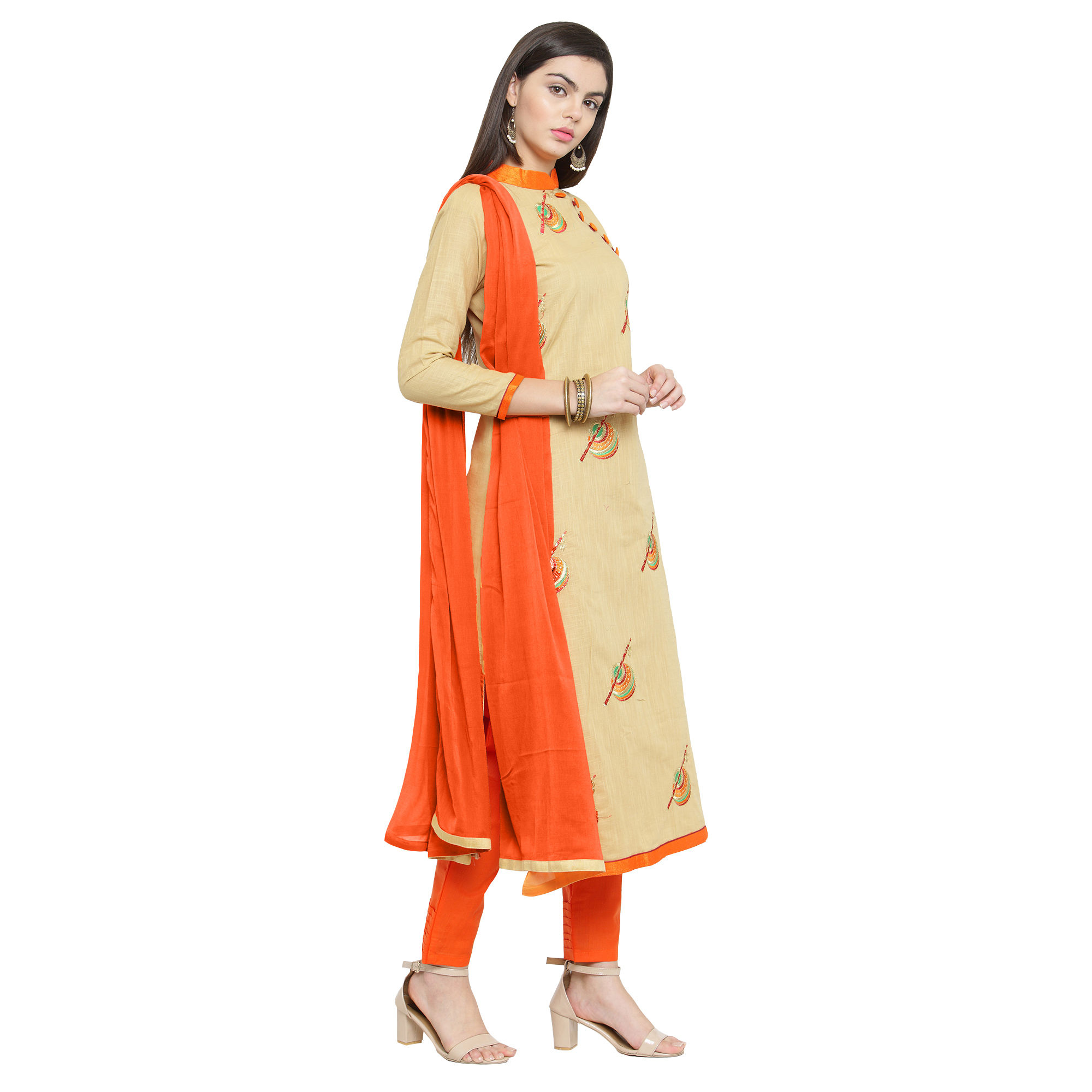 Stylish Beige Colored Casual Embroidered Cotton Dress Material