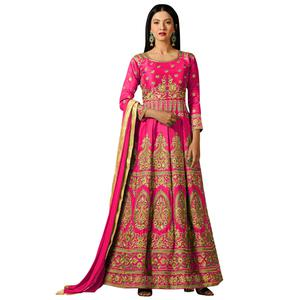 Charming Pink Colored Partywear Embroidered Mulberry Silk Anarkali Suit