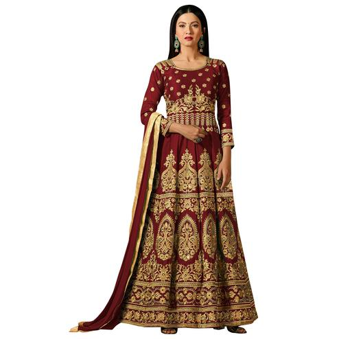 Classy Maroon Colored Partywear Embroidered Mulberry Silk Anarkali Suit