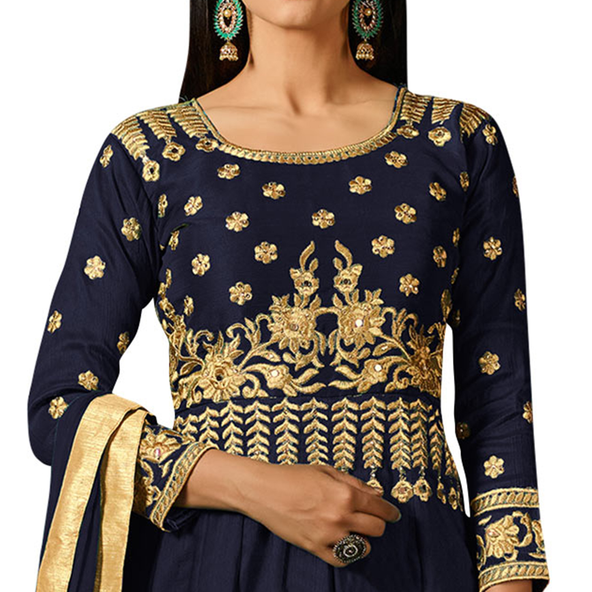 Demanding Navy Blue Colored Partywear Embroidered Mulberry Silk Anarkali Suit