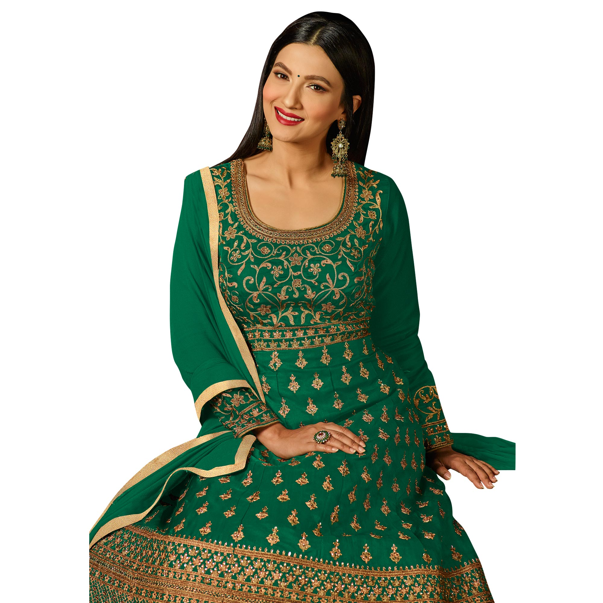 Refreshing Green Colored Partywear Embroidered Georgette Anarkali Suit