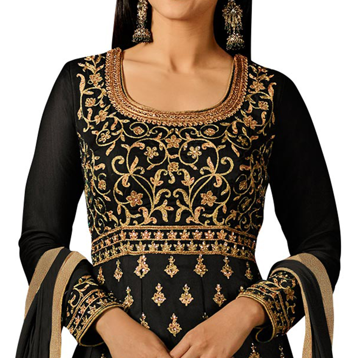 Flaunt Black Colored Partywear Embroidered Georgette Anarkali Suit