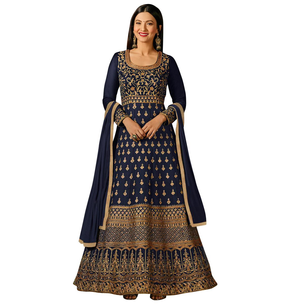 Beautiful Navy Blue Colored Partywear Embroidered Georgette Anarkali Suit