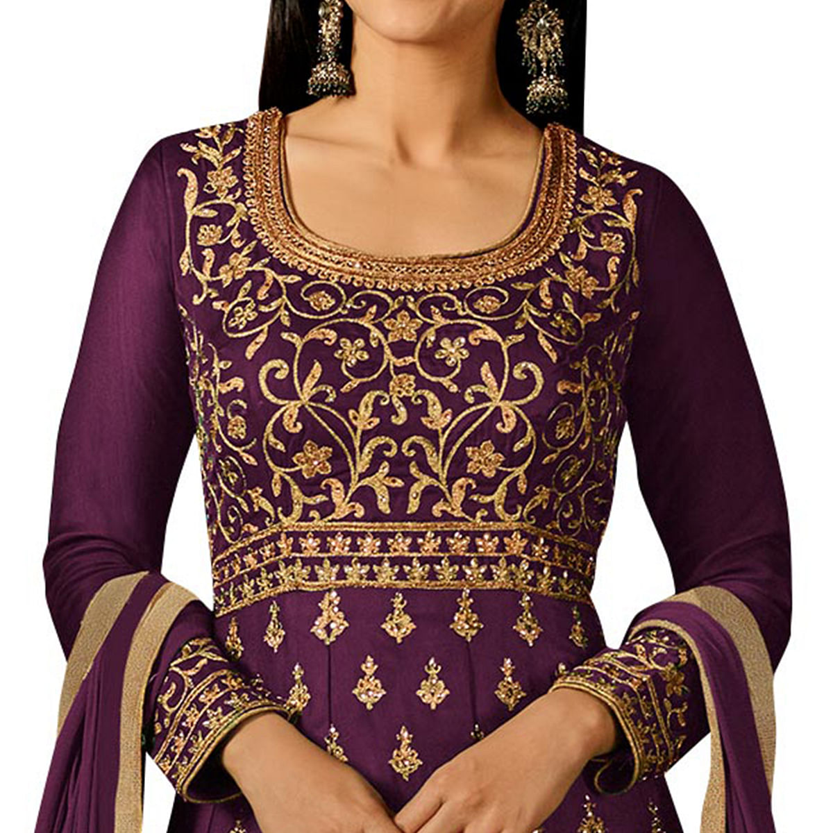 Pretty Purple Colored Partywear Embroidered Georgette Anarkali Suit