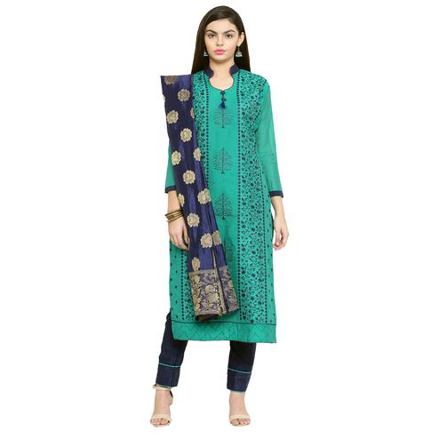 Classy Turquoise Green Colored Embroidered Chanderi Silk Dress Material With Banarasi Silk Dupatta