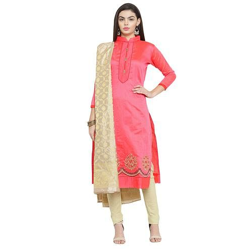 Charming Pink Colored Embroidered Chanderi Silk Dress Material With Banarasi Silk Dupatta