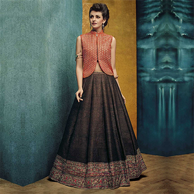 Brown - Orange Stitched Lehenga Choli