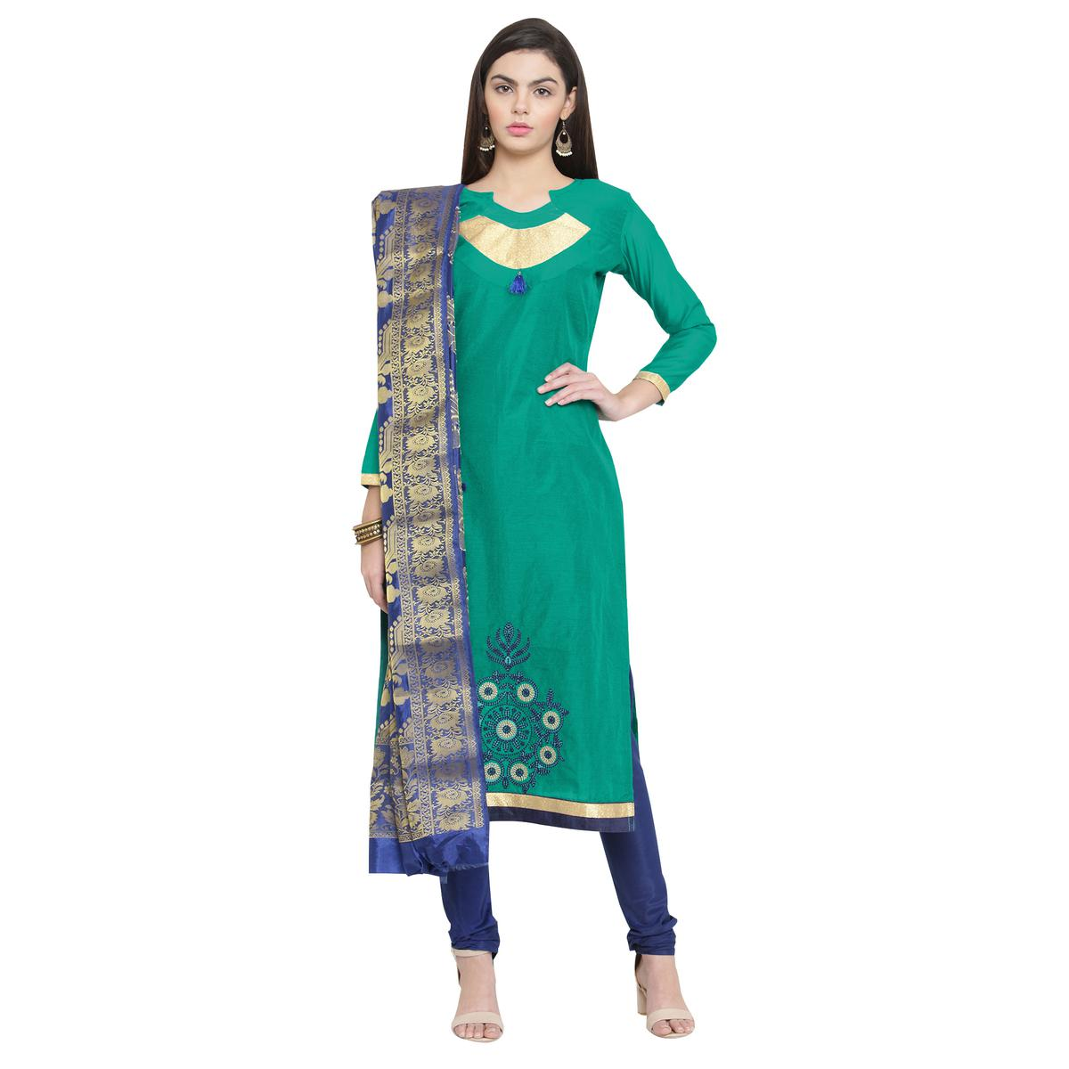 Lovely Turquoise Green Colored Embroidered Cotton Dress Material With Banarasi Silk Dupatta