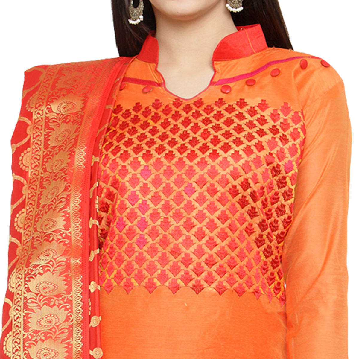 Glowing Orange Colored Embroidered Chanderi Silk Dress Material With Banarasi Silk Dupatta