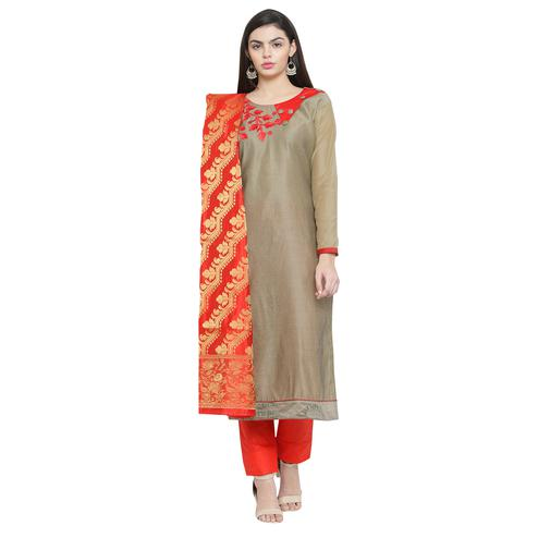 Unique Chiku Colored Embroidered Chanderi Silk Dress Material With Banarasi Silk Dupatta