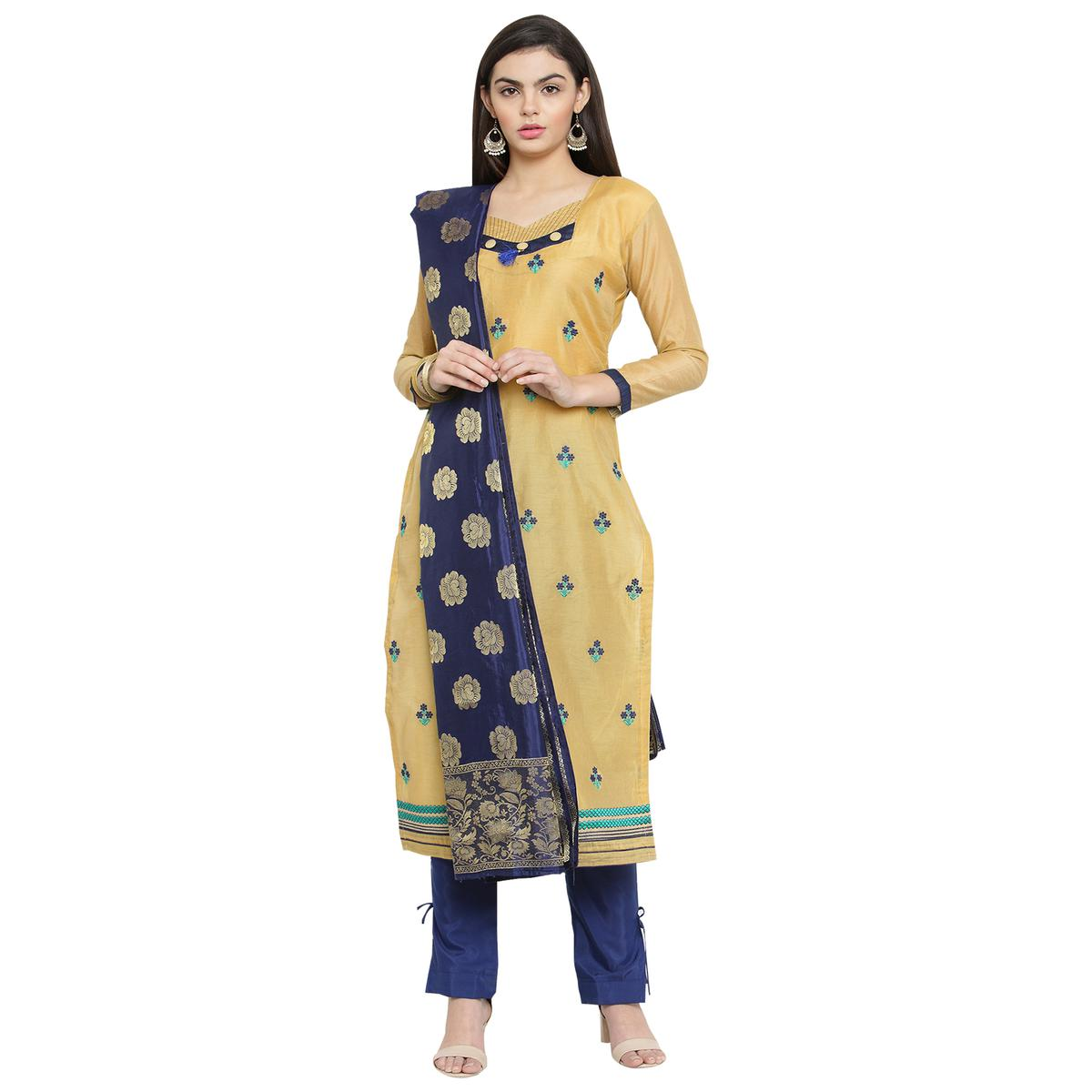 Beautiful Light Yellow Colored Embroidered Chanderi Silk Dress Material With Banarasi Silk Dupatta