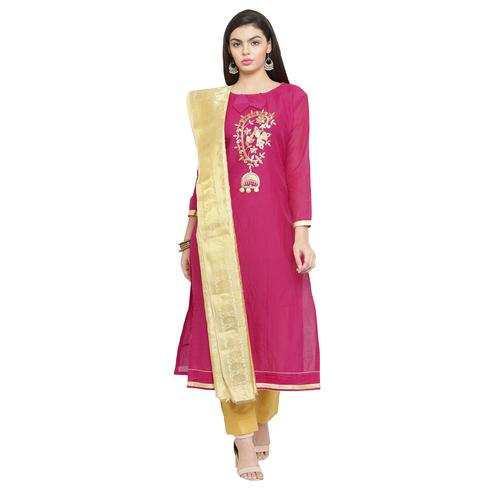 Pretty Dark Pink Colored Embroidered Chanderi Silk Dress Material With Banarasi Silk Dupatta