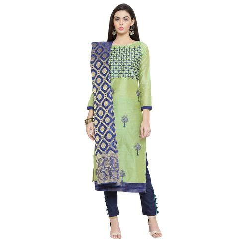 Adorning Pista Green Colored Embroidered Chanderi Silk Dress Material With Banarasi Silk Dupatta