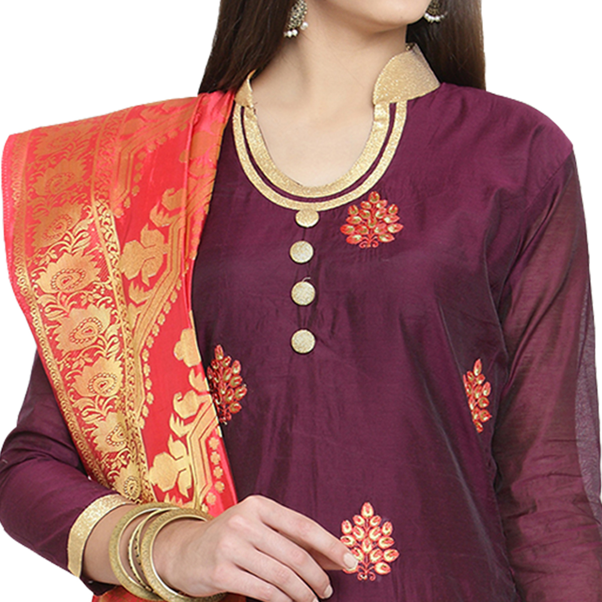 Exceptional Wine Colored Embroidered Chanderi Silk Dress Material With Banarasi Silk Dupatta