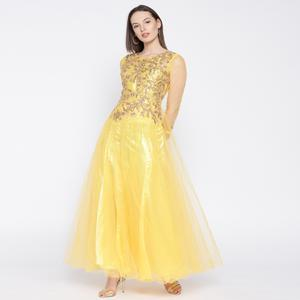 Desiring Yellow Colored Partywear Embroidered Net Gown