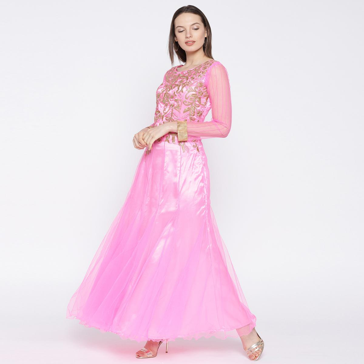 Charming Pink Colored Partywear Embroidered Net Gown