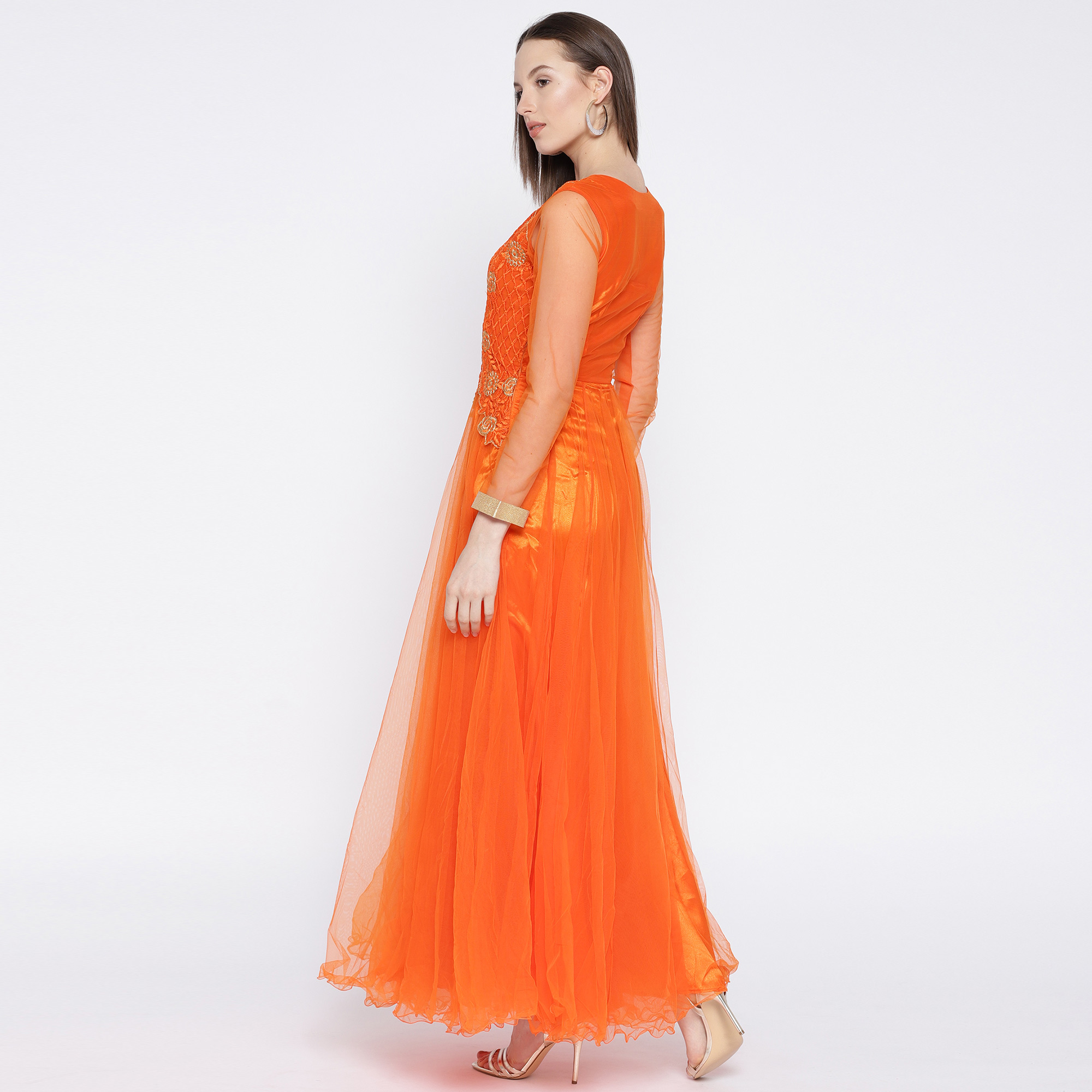 Stylish Orange Colored Partywear Embroidered Net Gown