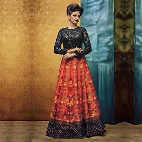 Orange - Black Digital Printed Stitched Lehenga