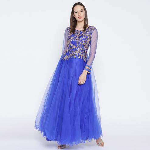Beautiful Blue Colored Partywear Embroidered Net Gown
