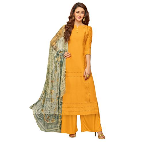 Amazing Yellow Colored Partywear Embroidered Cotton Suit