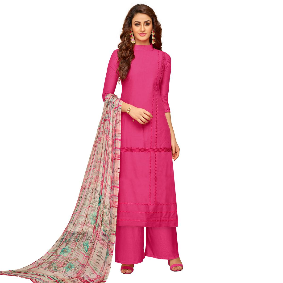Attractive Pink Colored Partywear Embroidered Cotton Suit