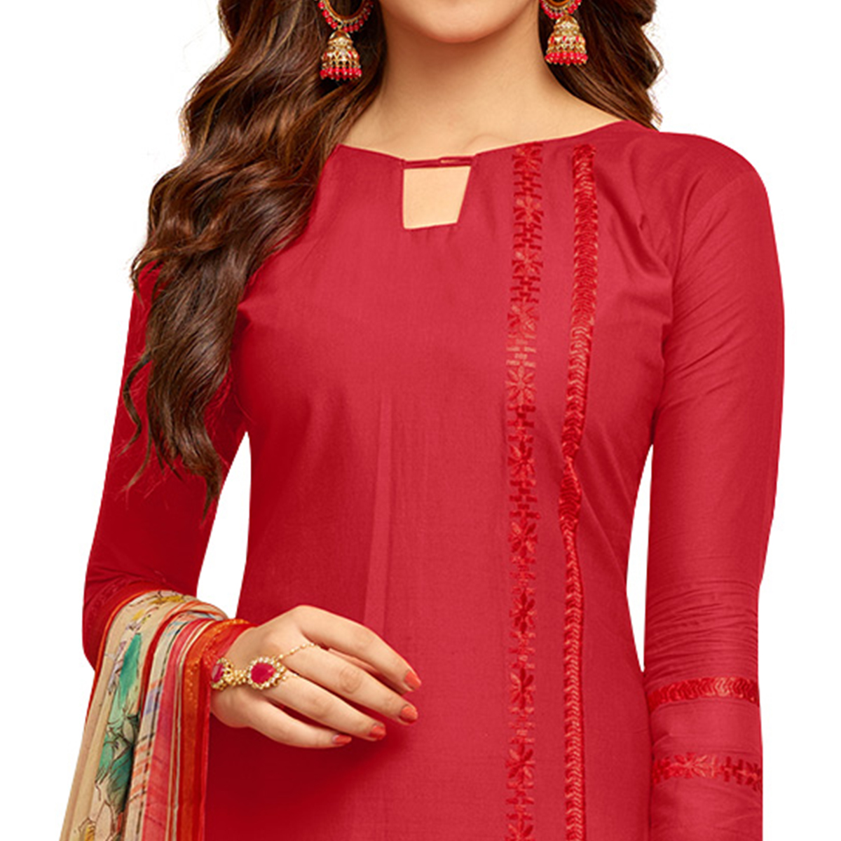 Trendy Red Colored Partywear Embroidered Cotton Suit