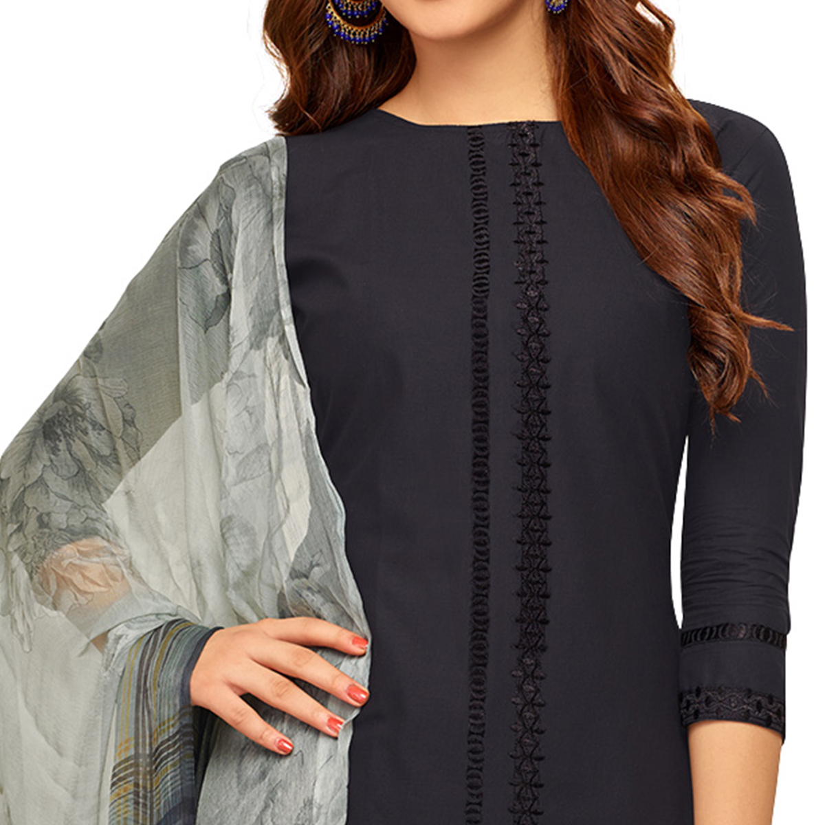 Impressive Greyish black Colored Partywear Embroidered Cotton Suit