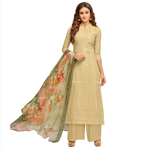 Majestic Beige Colored Partywear Embroidered Cotton Suit