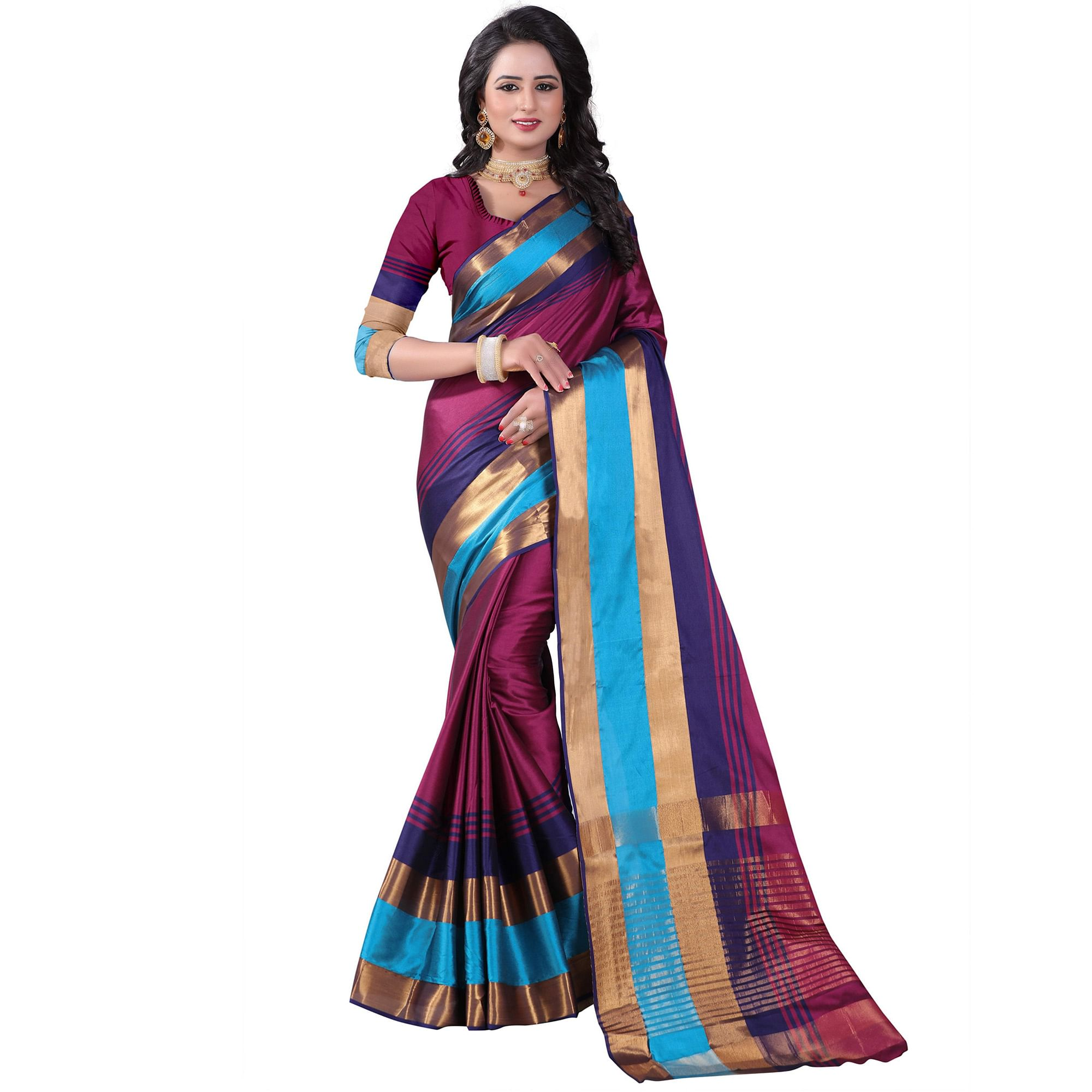 Mesmeric Magenta Colored Festive Wear Cotton Silk Saree