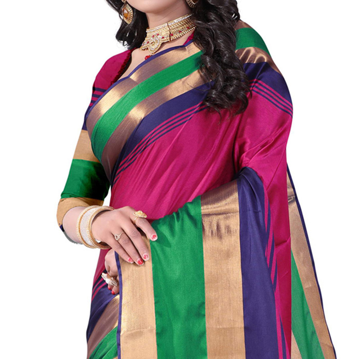 Charming Pink Colored Festive Wear Cotton Silk Saree