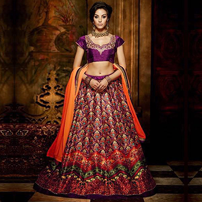 Purple - Red Party Wear Lehenga Choli