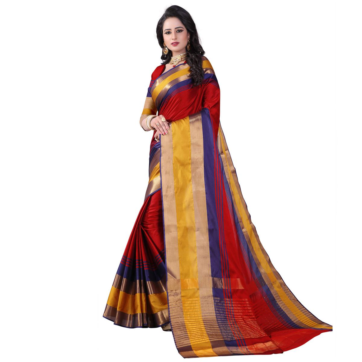 Trendy Red Colored Festive Wear Cotton Silk Saree