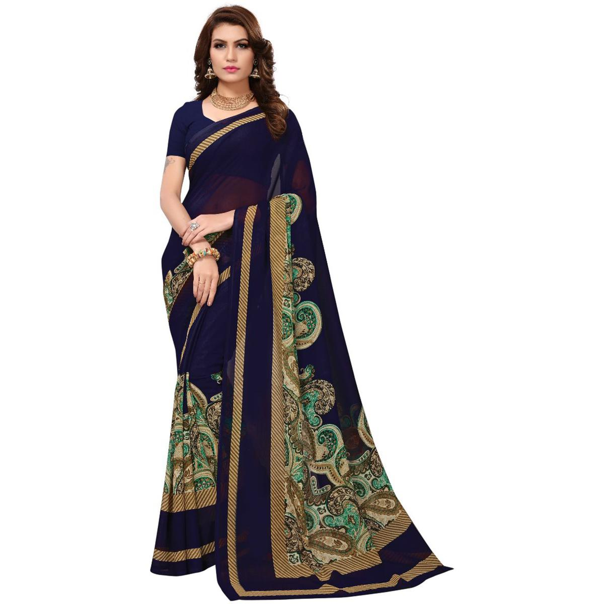 Desiring Navy Blue Colored Casual Printed Georgette Saree