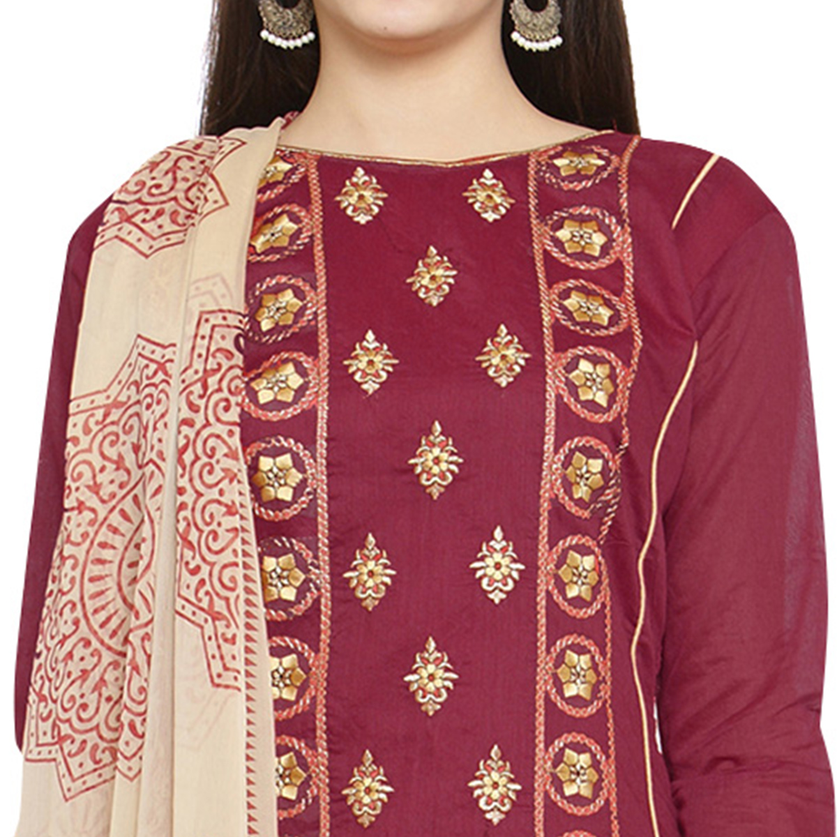 Beautiful Maroon Colored Casual Embroidered Chanderi Silk Dress Material