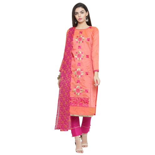 Pretty Peach Colored Casual Embroidered Chanderi Silk Dress Material