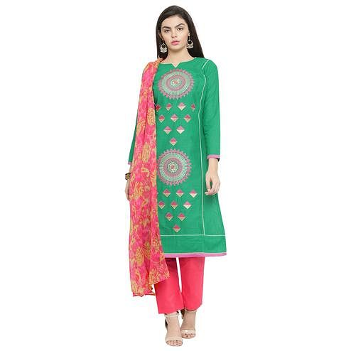 Refreshing Green Colored Casual Embroidered Chanderi Silk Dress Material