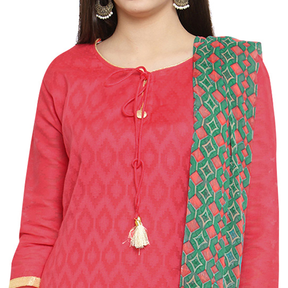 Stylish Pink Colored Casual Jacquard Cotton Dress Material