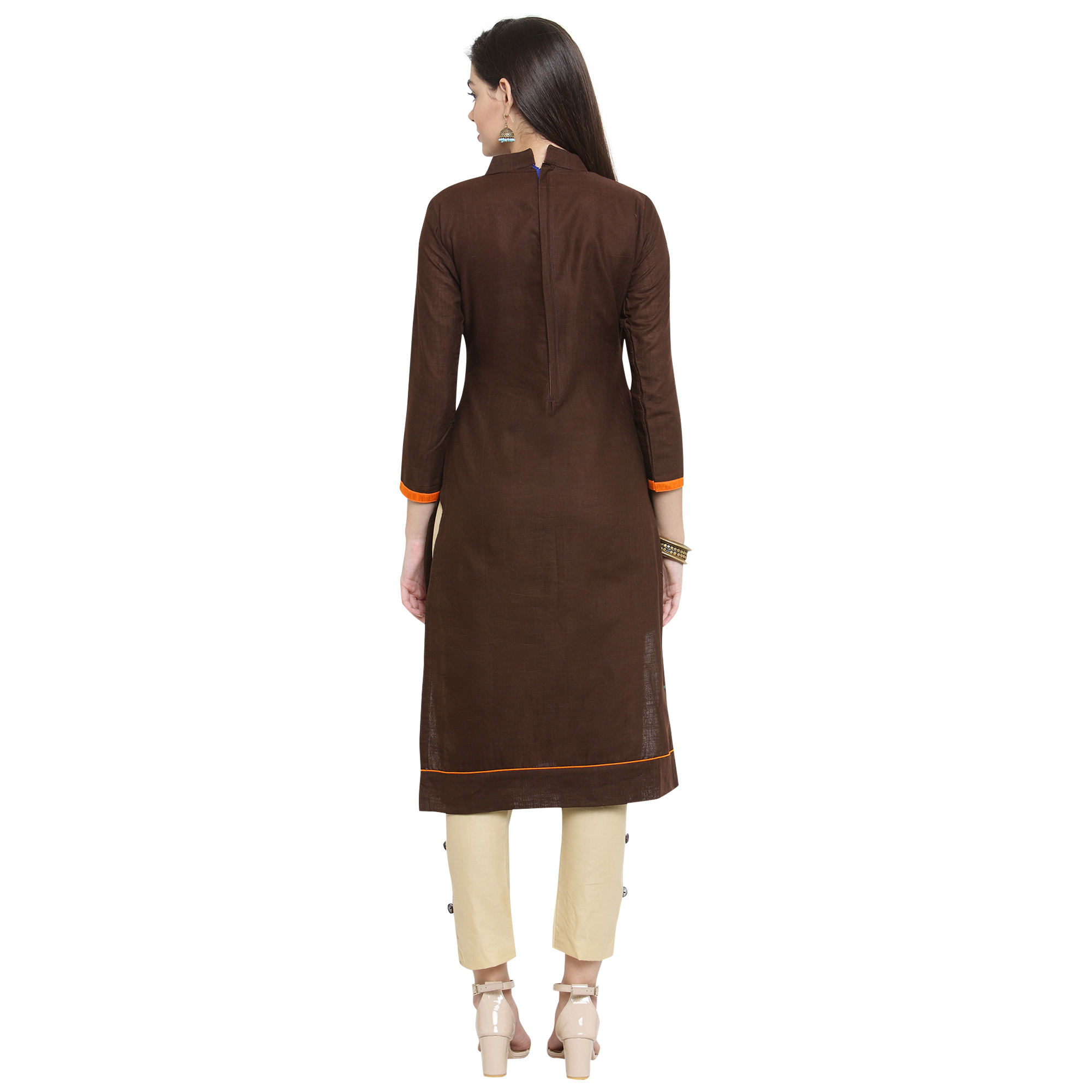 Trendy Brown Colored Casual Embroidered Cotton Dress Material