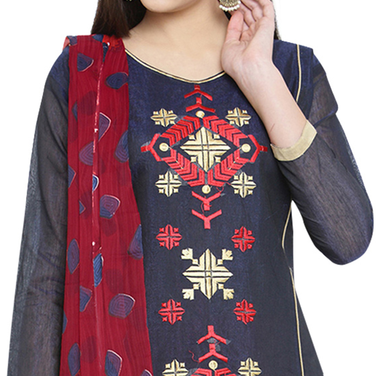 Demanding Navy Blue Colored Casual Embroidered Chanderi Cotton Dress Material