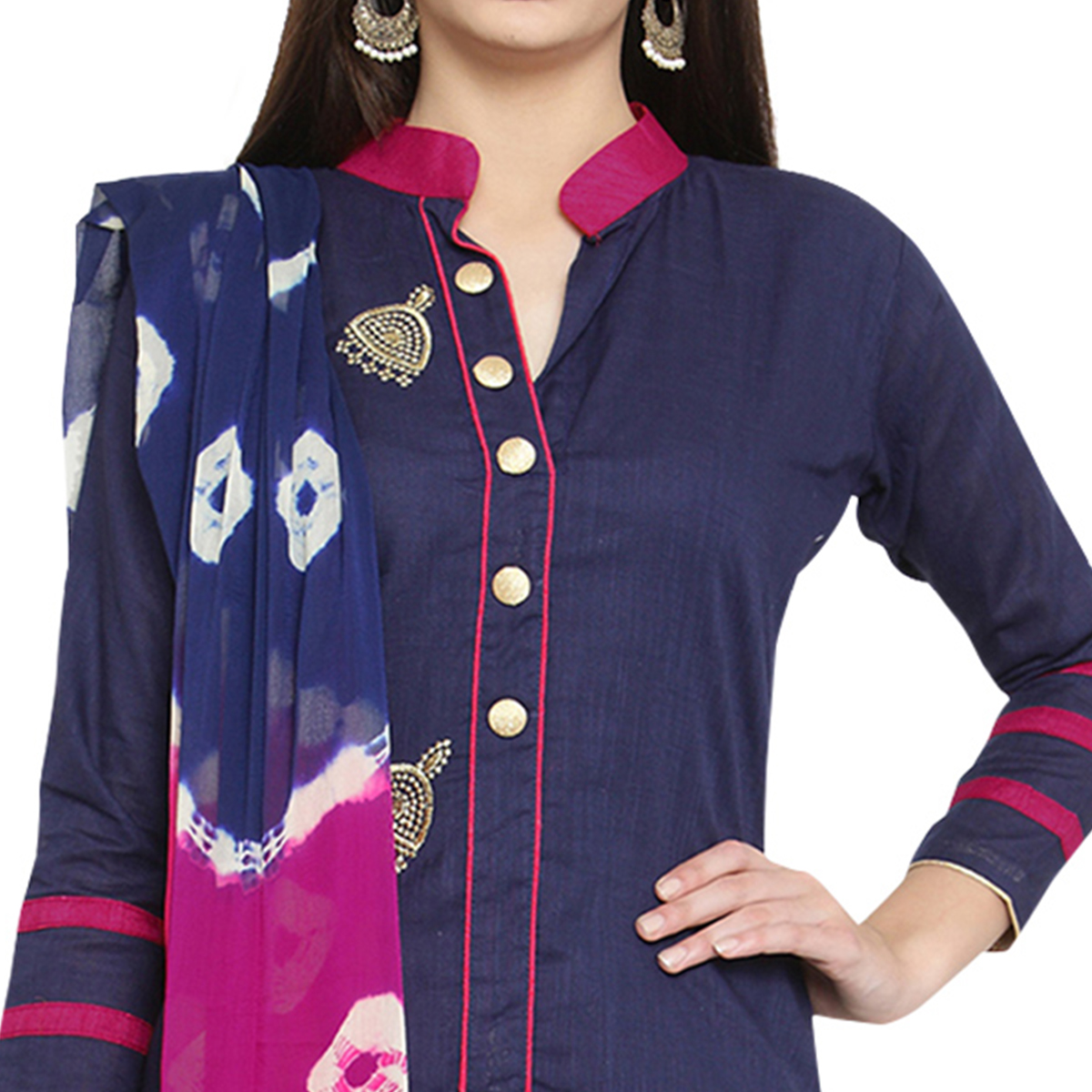 Blooming Navy Blue Colored Casual Embroidered Cotton Dress Material