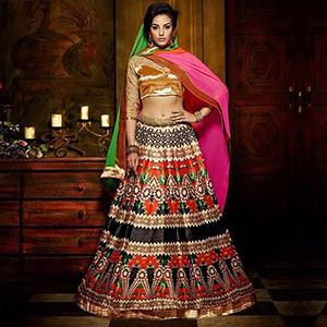 Black - Red Raw Silk Lehenga Choli