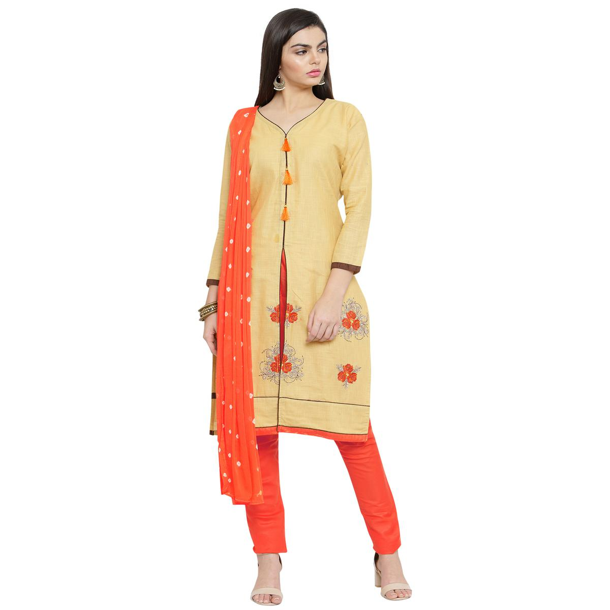 Pleasant Yellow Colored Casual Embroidered Cotton Dress Material