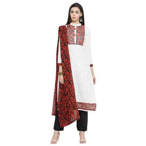 Glowing White Colored Casual Printed Cotton Dress Material