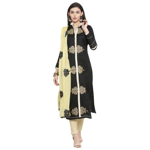 Stylish Black Colored Casual Embroidered Jacquard Cotton Dress Material