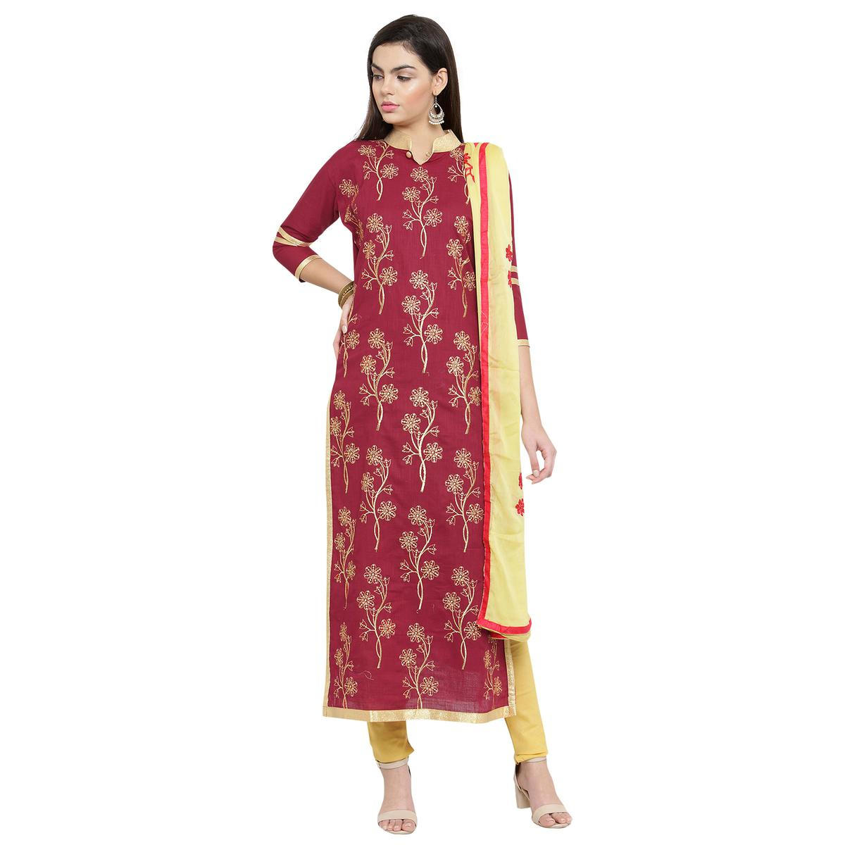 Majestic Red Colored Casual Embroidered Cotton Dress Material