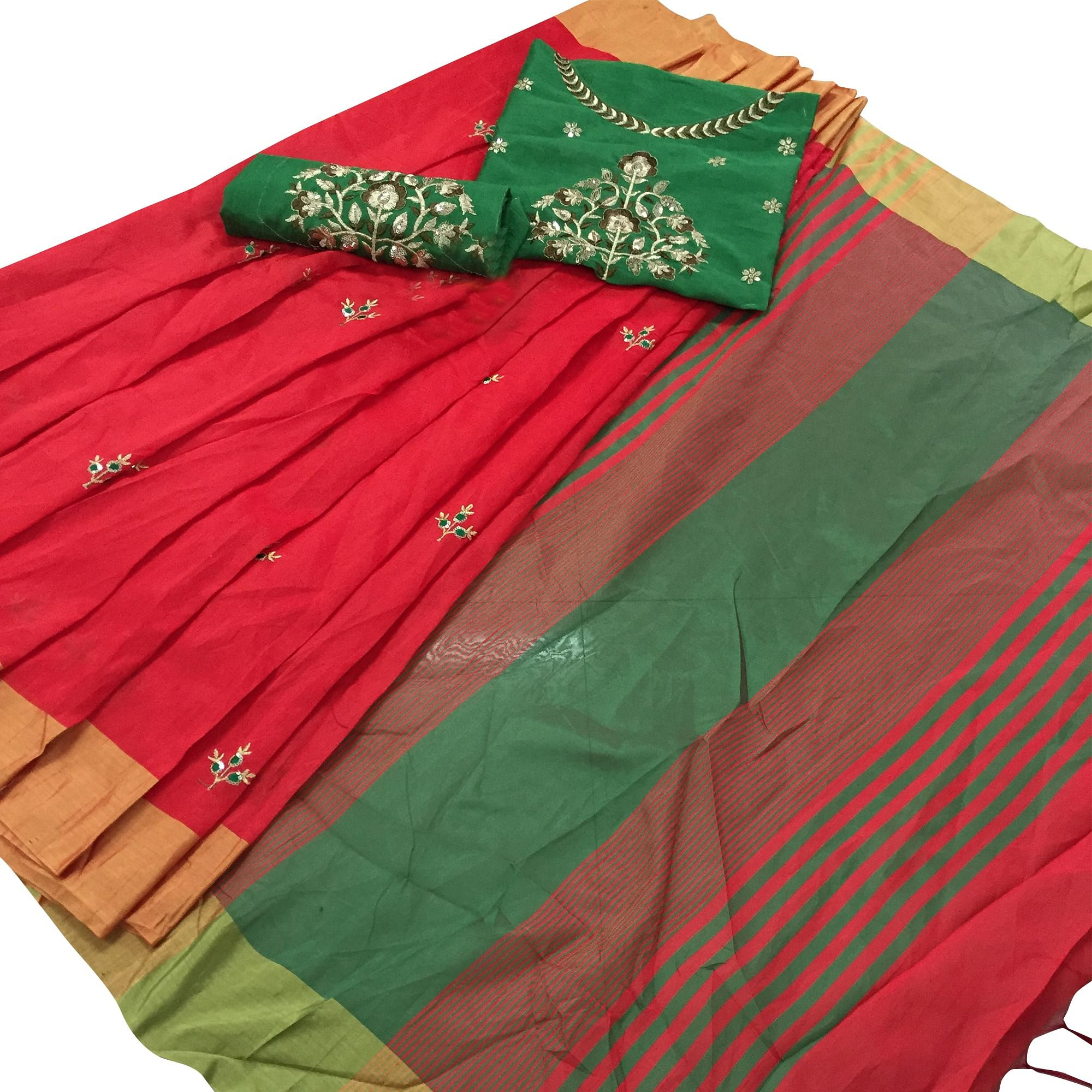 Staring Pinkish Red Colored Embroidered Cotton Silk Saree