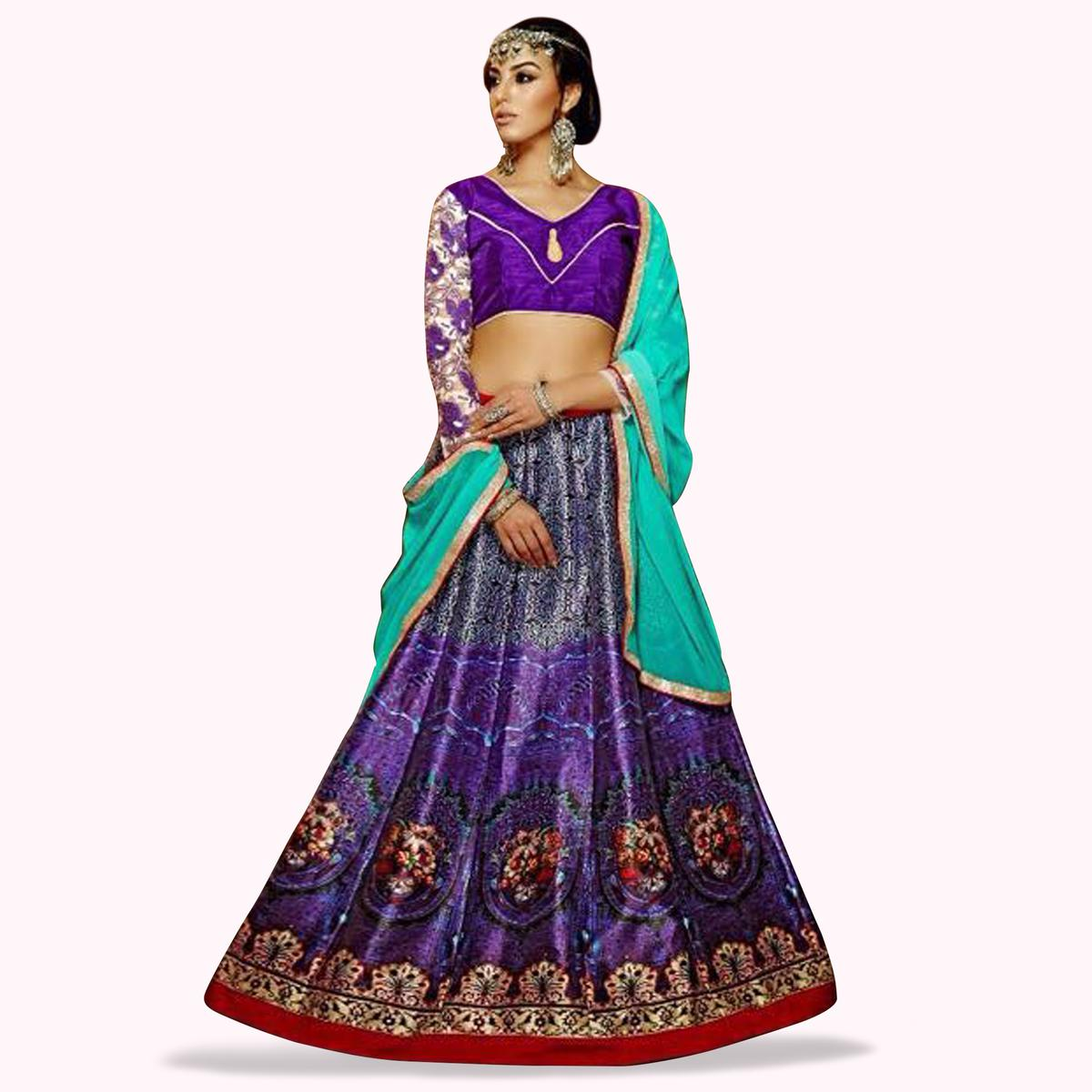Excellent Purple Colored Partywear Digital Printed Banglori Silk Lehenga