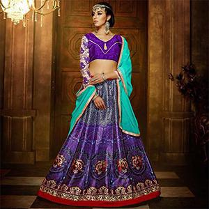 Purple - Sea Green Digital Printed Lehenga